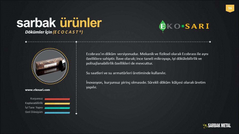 sarbak ürünler Dökümler İçin (E C O C A S T ®) www.ekosari.com Kurşunsuz Kaplanabilirlik İyi Tane Yapısı Geri Dönüşüm 16 Ecobrass'ın döküm versiyonudu