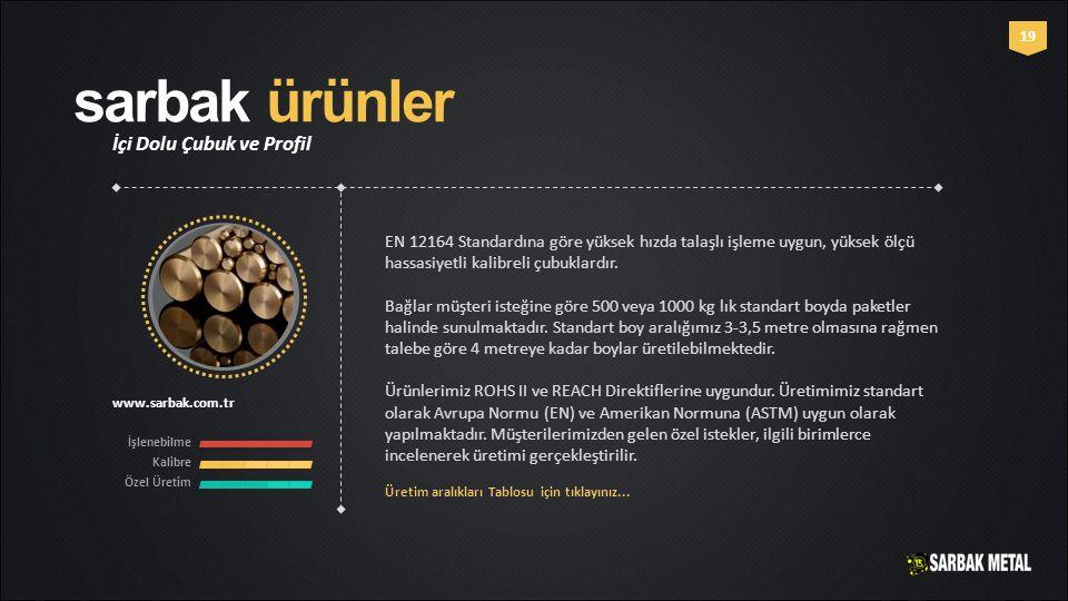 sarbak ürünler İçi Dolu Çubuk ve Profil www.sarbak.com.tr İşlenebilme Kalibre Özel Üretim 19 EN 12164 Standardına göre yüksek hızda talaşlı işleme uyg