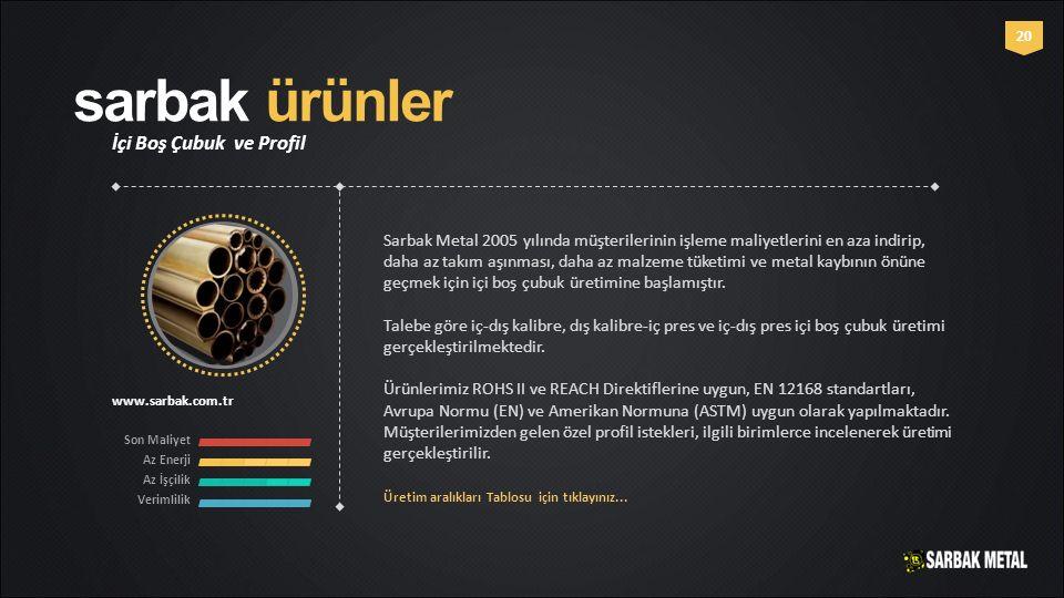 sarbak ürünler İçi Boş Çubuk ve Profil www.sarbak.com.tr 20 Sarbak Metal 2005 yılında müşterilerinin işleme maliyetlerini en aza indirip, daha az takı