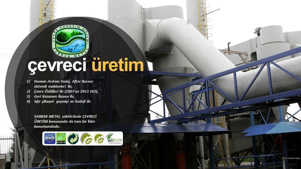 çevreci üretim 1)Duman Arıtma Tesisi, After Burner sistemli makineleri ile, 2)Çevre Ödülleri ile (2007 ve 2011 ISO), 3)Geri Kazanım lisansı ile, 4)Sıf