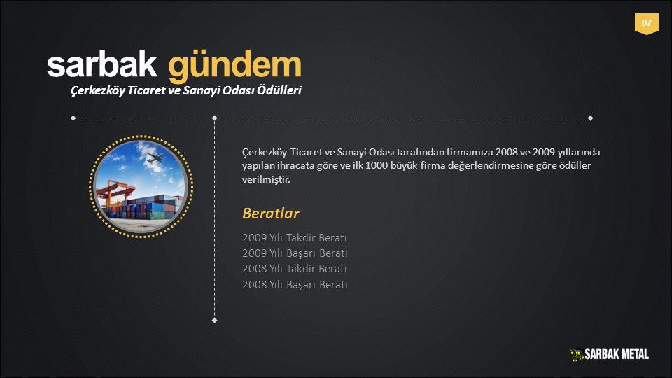 sarbak gündem Çerkezköy Ticaret ve Sanayi Odası Ödülleri 0707 Çerkezköy Ticaret ve Sanayi Odası tarafından firmamıza 2008 ve 2009 yıllarında yapılan i