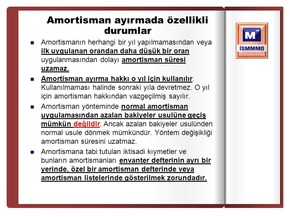 Amortismanın herhangi bir yıl yapılmamasından veya ilk uygulanan orandan daha düşük bir oran uygulanmasından dolayı amortisman süresi uzamaz. Amortism