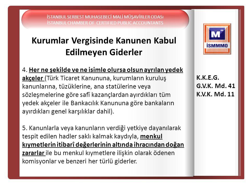 K.K.E Kurumlar Vergisinde Kanunen Kabul Edilmeyen Giderler 4. Her ne şekilde ve ne isimle olursa olsun ayrılan yedek akçeler (Türk Ticaret Kanununa, k