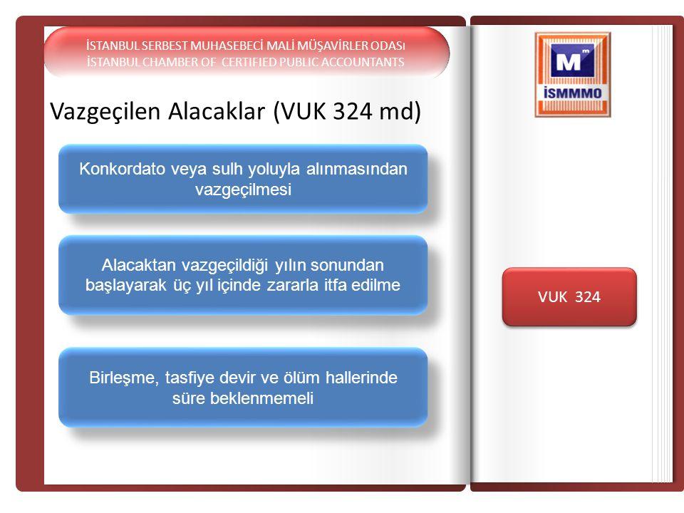Vazgeçilen Alacaklar (VUK 324 md) VUK 324 Birleşme, tasfiye devir ve ölüm hallerinde süre beklenmemeli Alacaktan vazgeçildiği yılın sonundan başlayara