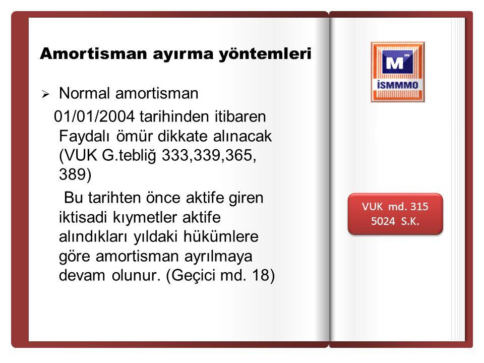 Giri ş Amortisman ayırma yöntemleri  Normal amortisman 01/01/2004 tarihinden itibaren Faydalı ömür dikkate alınacak (VUK G.tebliğ 333,339,365, 389) B