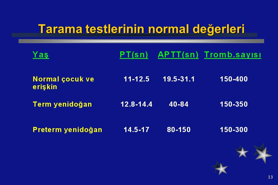 13 Tarama testlerinin normal değerleri