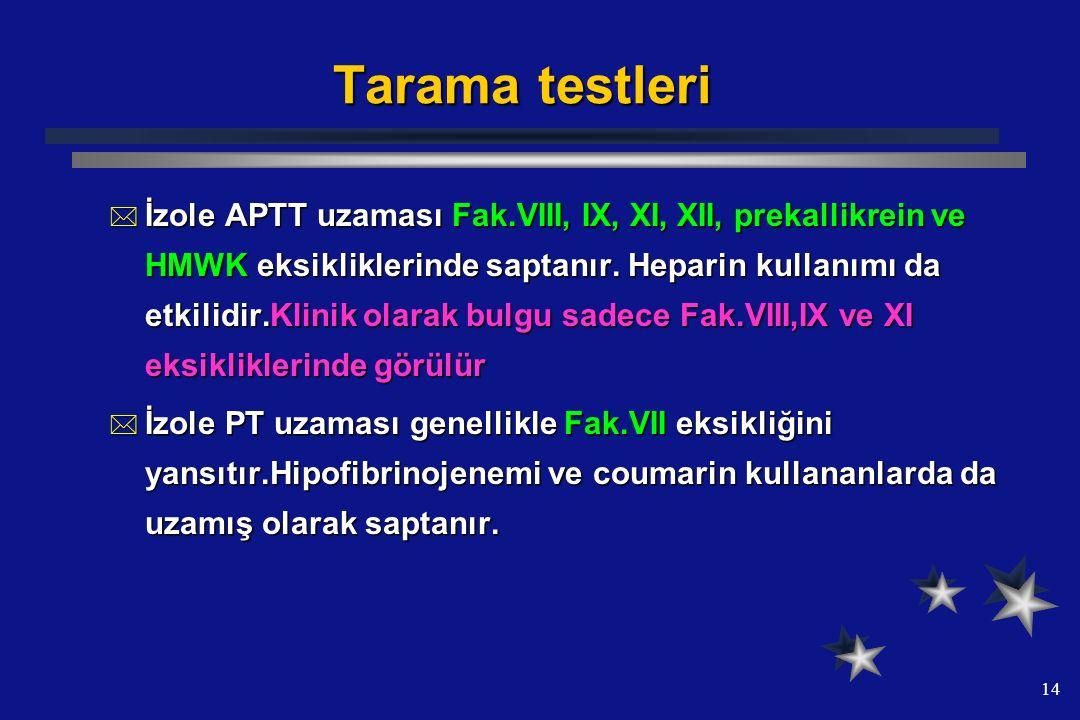14 Tarama testleri  İzole APTT uzaması Fak.VIII, IX, XI, XII, prekallikrein ve HMWK eksikliklerinde saptanır. Heparin kullanımı da etkilidir.Klinik o