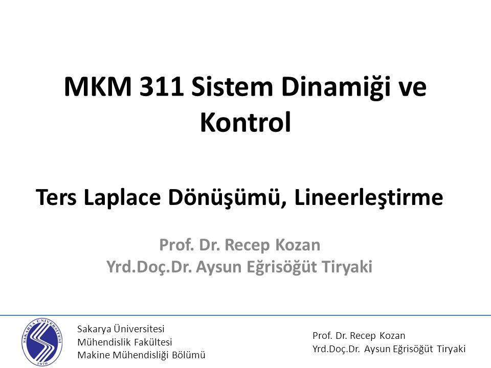MKM 311 Sistem Dinamiği ve Kontrol Ters Laplace Dönüşümü, Lineerleştirme Prof. Dr. Recep Kozan Yrd.Doç.Dr. Aysun Eğrisöğüt Tiryaki Sakarya Üniversites