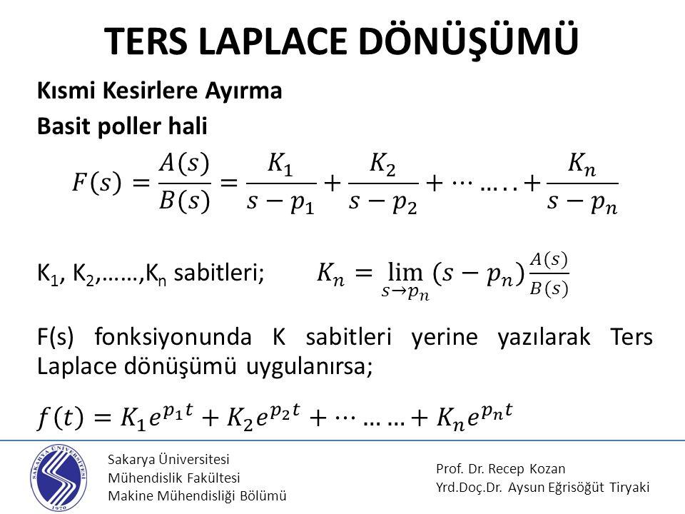 Sakarya Üniversitesi Mühendislik Fakültesi Makine Mühendisliği Bölümü TERS LAPLACE DÖNÜŞÜMÜ Prof. Dr. Recep Kozan Yrd.Doç.Dr. Aysun Eğrisöğüt Tiryaki