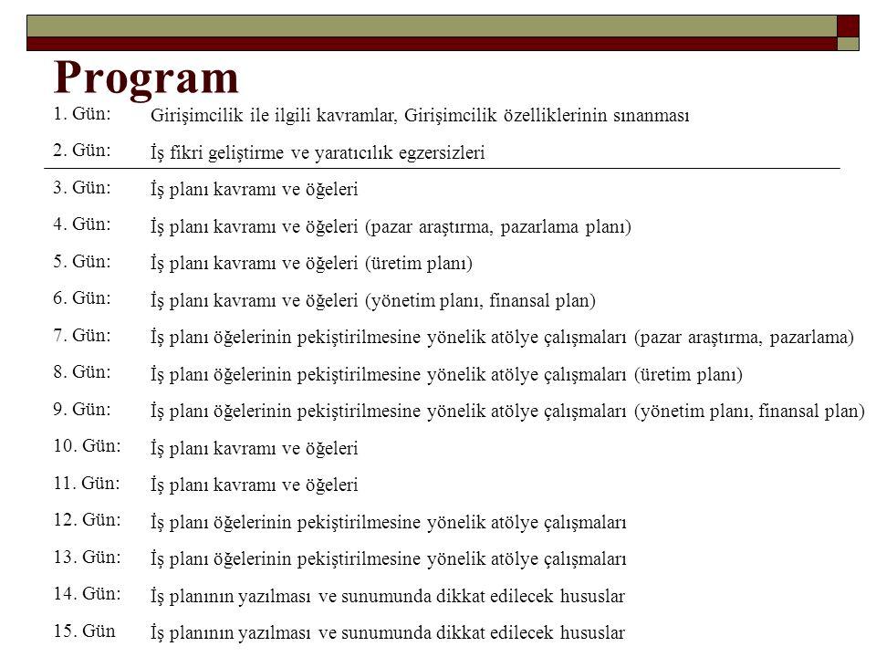 Program 1. Gün: Girişimcilik ile ilgili kavramlar, Girişimcilik özelliklerinin sınanması 2.