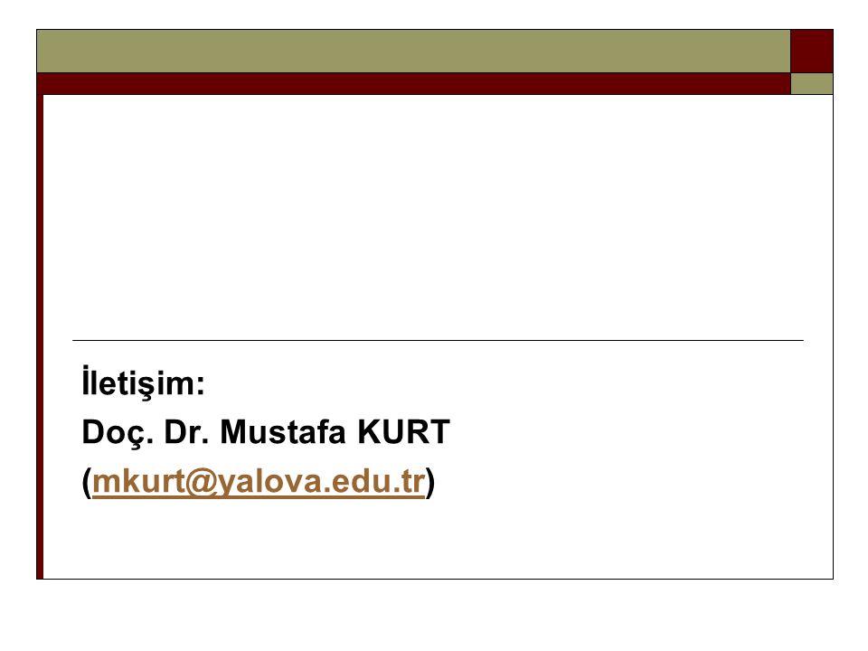 İletişim: Doç. Dr. Mustafa KURT (mkurt@yalova.edu.tr)mkurt@yalova.edu.tr