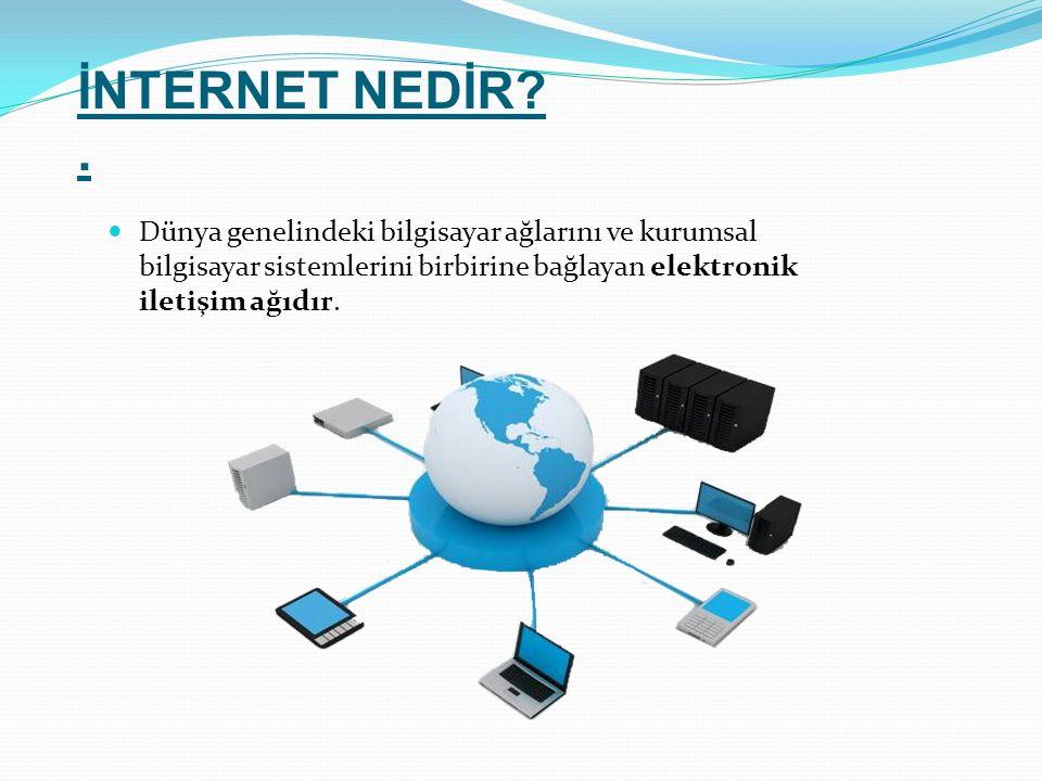 İNTERNET NEDİR?. Dünya genelindeki bilgisayar ağlarını ve kurumsal bilgisayar sistemlerini birbirine bağlayan elektronik iletişim ağıdır.