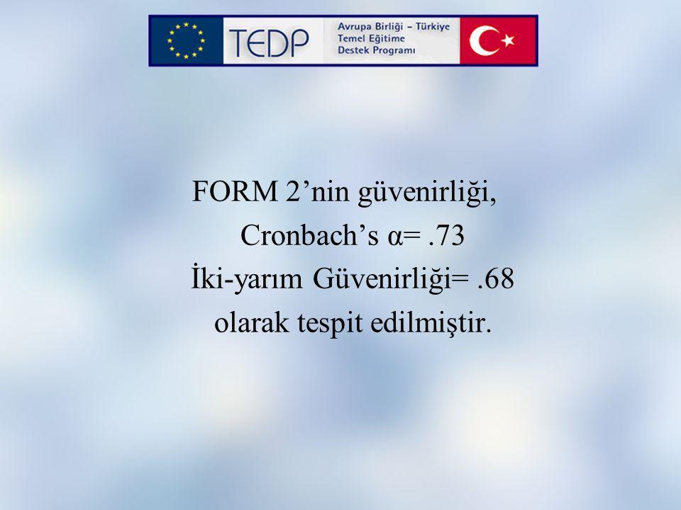 FORM 2'nin güvenirliği, Cronbach's α=.73 İki-yarım Güvenirliği=.68 olarak tespit edilmiştir.