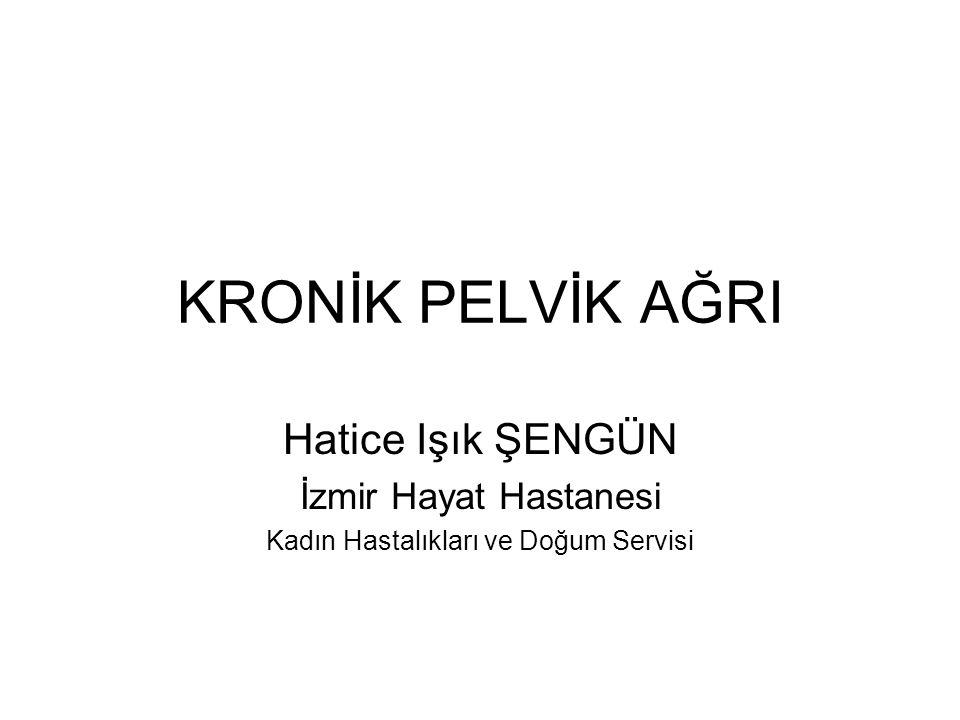 KRONİK PELVİK AĞRI Hatice Işık ŞENGÜN İzmir Hayat Hastanesi Kadın Hastalıkları ve Doğum Servisi