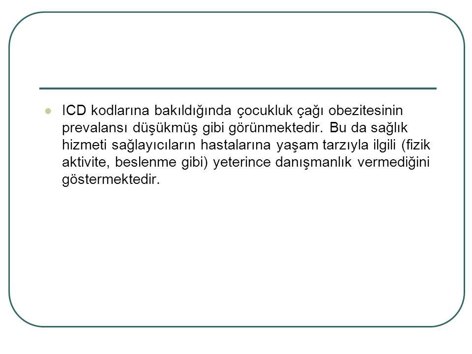ICD kodlarına bakıldığında çocukluk çağı obezitesinin prevalansı düşükmüş gibi görünmektedir.