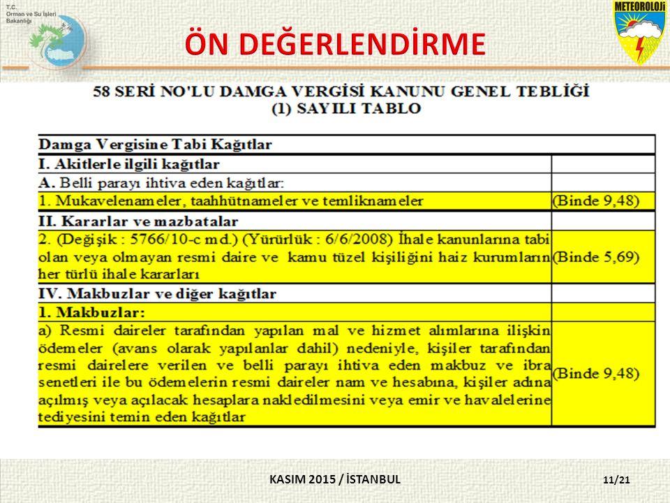 KASIM 2015 / İSTANBUL 11/21 SORU 10- Doğrudan temin yöntemi ile yapılan alımlarda, damga vergisi kesintisi yapılacak belgeler aşağıdakilerden hangisinde doğru gruplanmıştır.