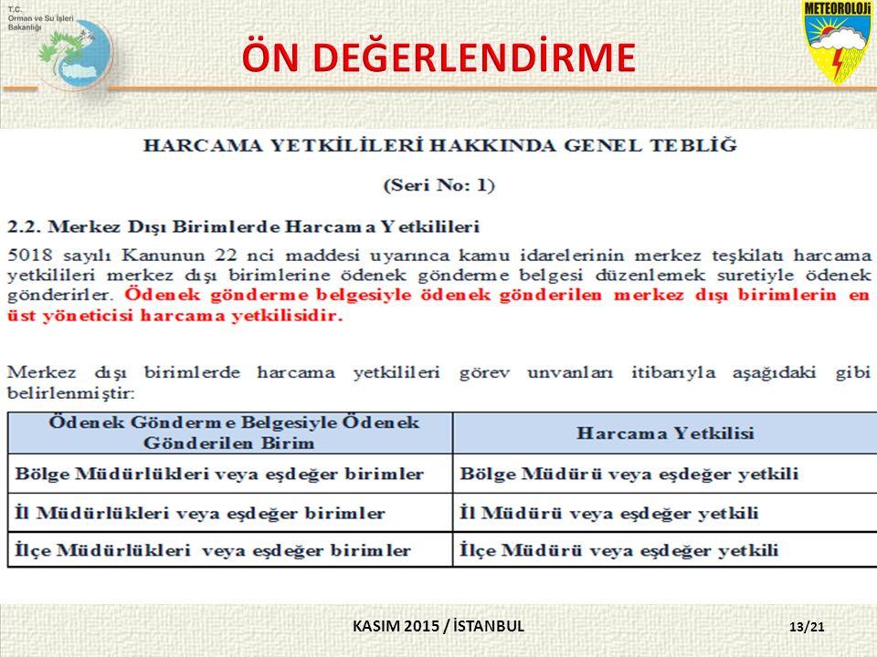 KASIM 2015 / İSTANBUL 13/21 SORU 12- Normal şartlarda MGM merkez dışı birimlerinde harcama yetkilisi aşağıdakilerden hangisidir.