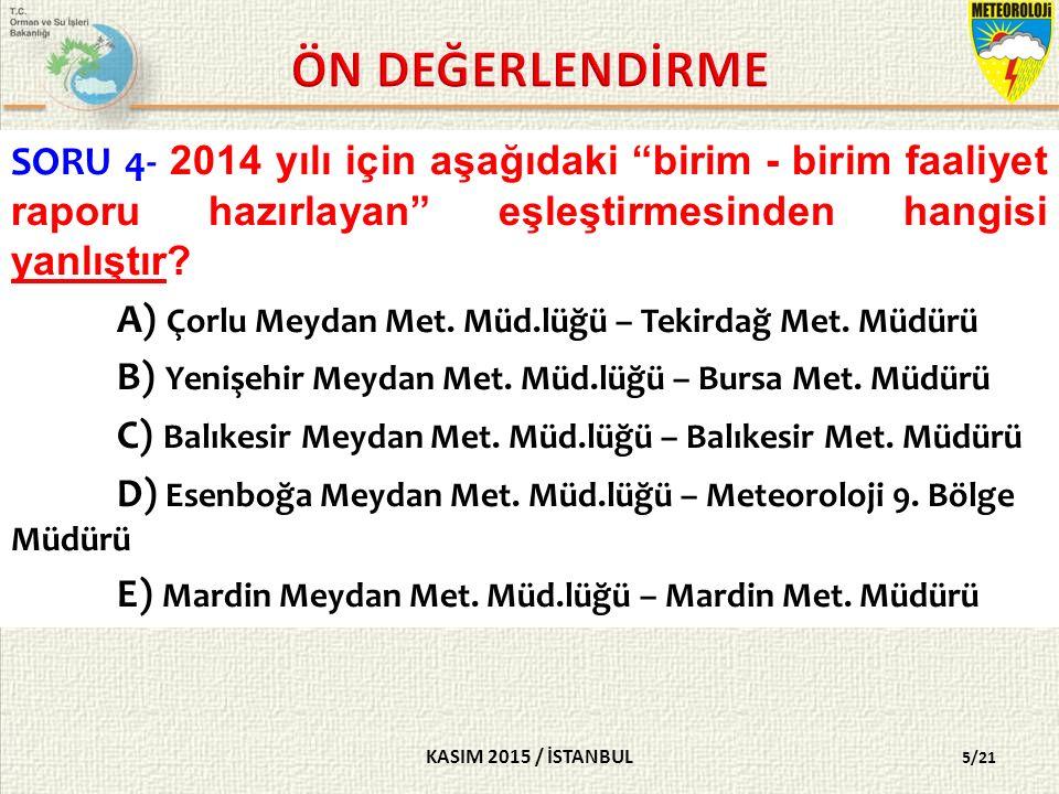 KASIM 2015 / İSTANBUL 5/21 SORU 4- 2014 yılı için aşağıdaki birim - birim faaliyet raporu hazırlayan eşleştirmesinden hangisi yanlıştır.