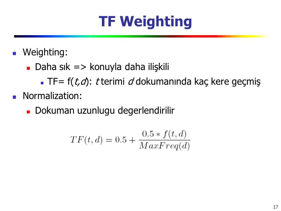 17 TF Weighting Weighting: Daha sık => konuyla daha ilişkili TF= f(t,d): t terimi d dokumanında kaç kere geçmiş Normalization: Dokuman uzunlugu degerl
