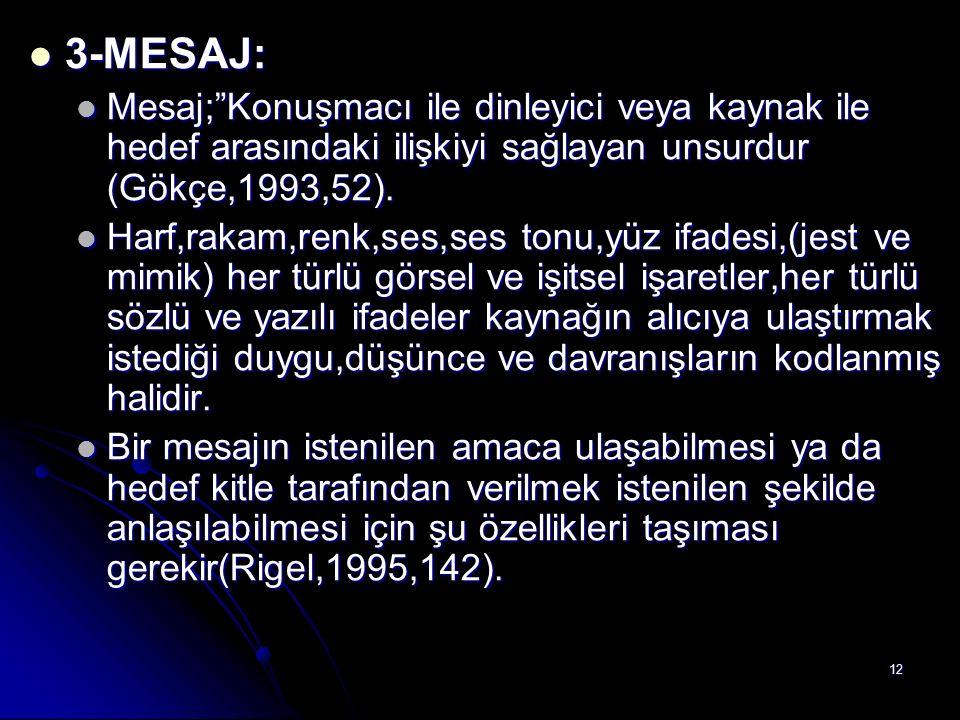 """12 3-MESAJ: 3-MESAJ: Mesaj;""""Konuşmacı ile dinleyici veya kaynak ile hedef arasındaki ilişkiyi sağlayan unsurdur (Gökçe,1993,52). Mesaj;""""Konuşmacı ile"""