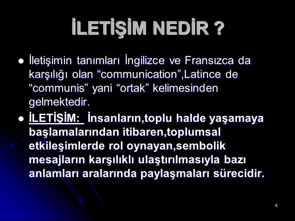"""6 İLETİŞİM NEDİR ? İletişimin tanımları İngilizce ve Fransızca da karşılığı olan """"communication"""",Latince de """"communis"""" yani """"ortak"""" kelimesinden gelme"""