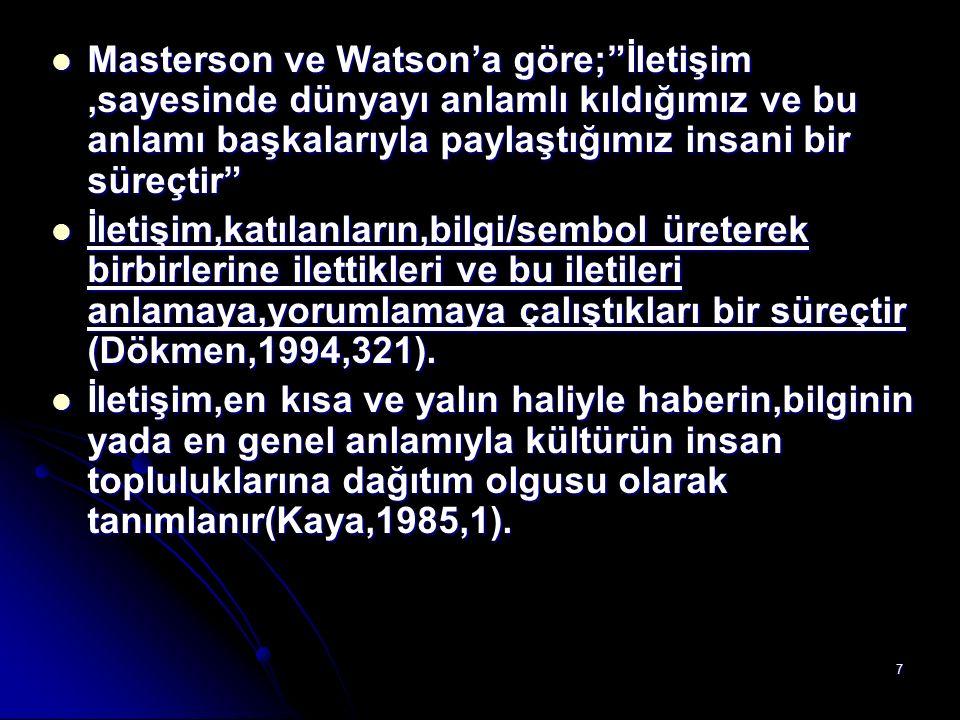"""7 Masterson ve Watson'a göre;""""İletişim,sayesinde dünyayı anlamlı kıldığımız ve bu anlamı başkalarıyla paylaştığımız insani bir süreçtir"""" Masterson ve"""