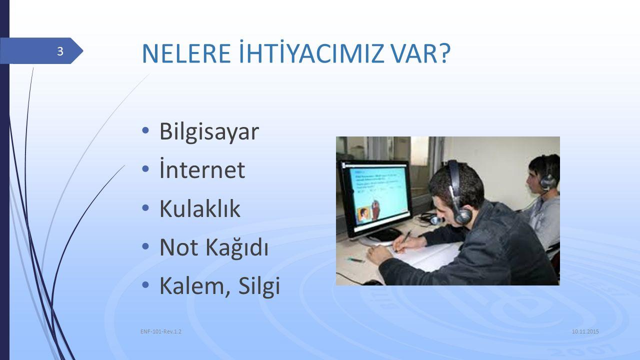 NELERE İHTİYACIMIZ VAR? Bilgisayar İnternet Kulaklık Not Kağıdı Kalem, Silgi 10.11.2015 ENF-101-Rev.1.2 3