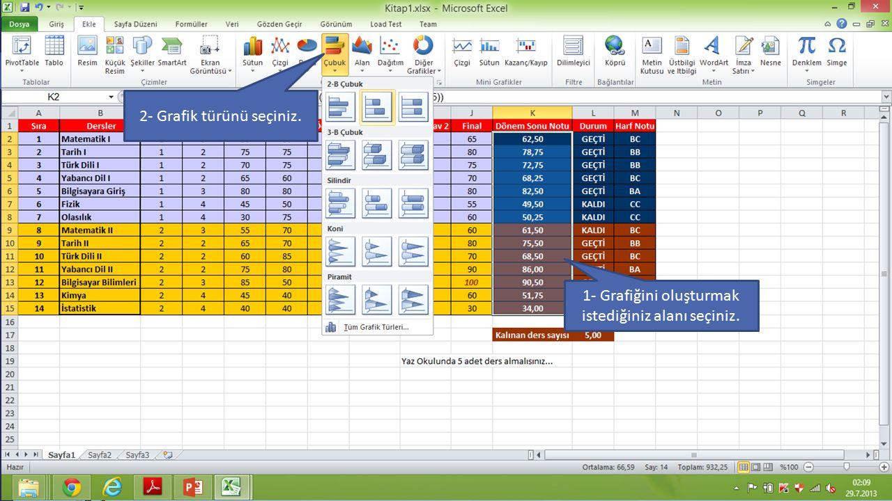 … .. 10.11.2015 ENF-101-Rev.1.2 8 .. 1- Grafiğini oluşturmak istediğiniz alanı seçiniz. 2- Grafik türünü seçiniz.