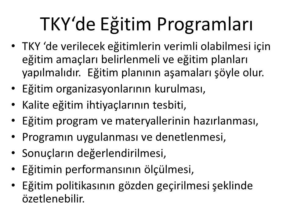 TKY'de Eğitim Programları TKY 'de verilecek eğitimlerin verimli olabilmesi için eğitim amaçları belirlenmeli ve eğitim planları yapılmalıdır. Eğitim p