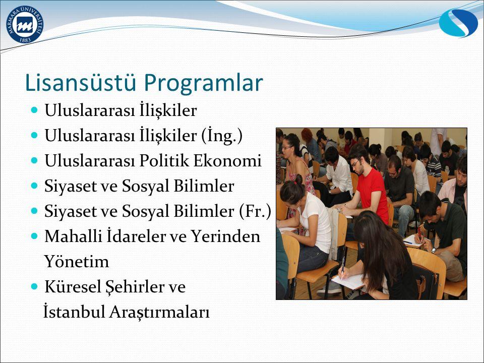 Lisansüstü Programlar Uluslararası İlişkiler Uluslararası İlişkiler (İng.) Uluslararası Politik Ekonomi Siyaset ve Sosyal Bilimler Siyaset ve Sosyal Bilimler (Fr.) Mahalli İdareler ve Yerinden Yönetim Küresel Şehirler ve İstanbul Araştırmaları