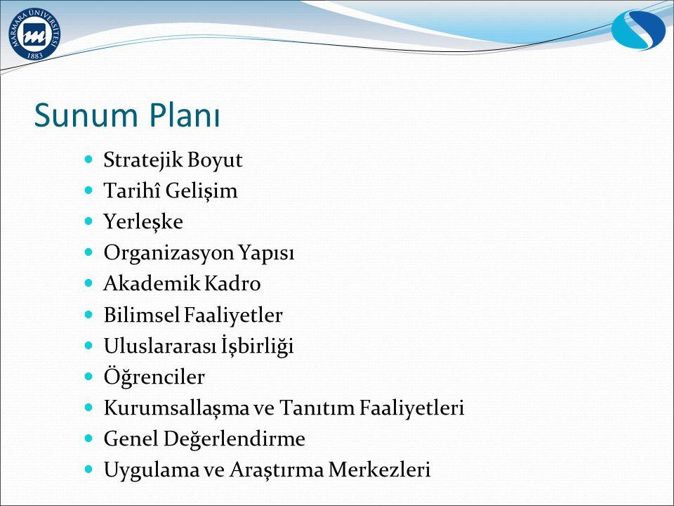 Sunum Planı Stratejik Boyut Tarihî Gelişim Yerleşke Organizasyon Yapısı Akademik Kadro Bilimsel Faaliyetler Uluslararası İşbirliği Öğrenciler Kurumsallaşma ve Tanıtım Faaliyetleri Genel Değerlendirme Uygulama ve Araştırma Merkezleri