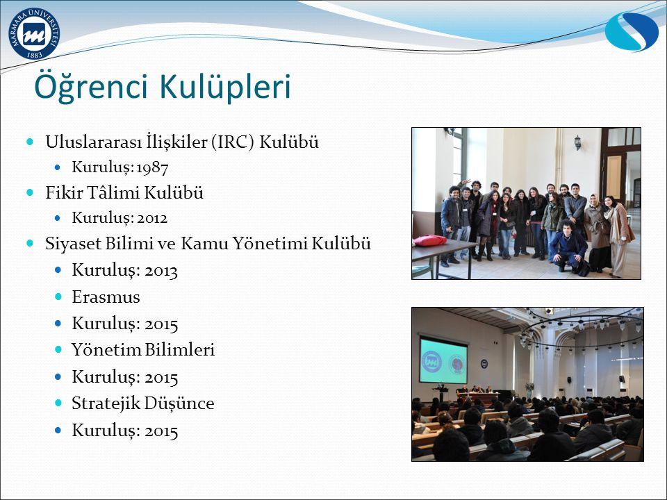 Öğrenci Kulüpleri Uluslararası İlişkiler (IRC) Kulübü Kuruluş: 1987 Fikir Tâlimi Kulübü Kuruluş: 2012 Siyaset Bilimi ve Kamu Yönetimi Kulübü Kuruluş: 2013 Erasmus Kuruluş: 2015 Yönetim Bilimleri Kuruluş: 2015 Stratejik Düşünce Kuruluş: 2015