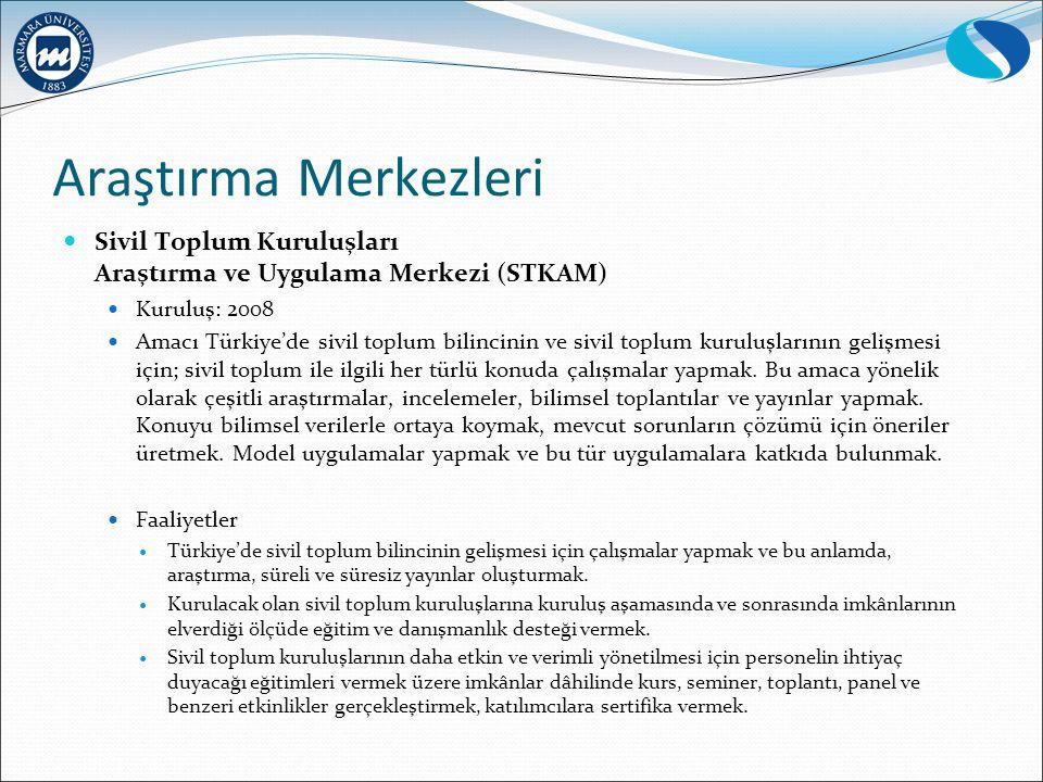 Araştırma Merkezleri Sivil Toplum Kuruluşları Araştırma ve Uygulama Merkezi (STKAM) Kuruluş: 2008 Amacı Türkiye'de sivil toplum bilincinin ve sivil toplum kuruluşlarının gelişmesi için; sivil toplum ile ilgili her türlü konuda çalışmalar yapmak.