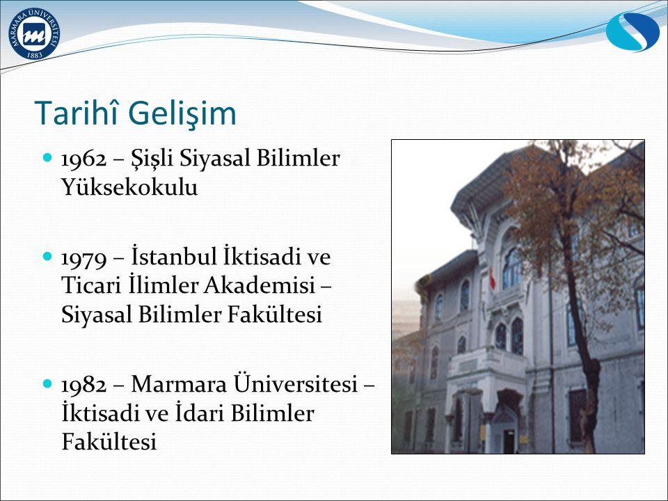 Tarihî Gelişim 1962 – Şişli Siyasal Bilimler Yüksekokulu 1979 – İstanbul İktisadi ve Ticari İlimler Akademisi – Siyasal Bilimler Fakültesi 1982 – Marmara Üniversitesi – İktisadi ve İdari Bilimler Fakültesi