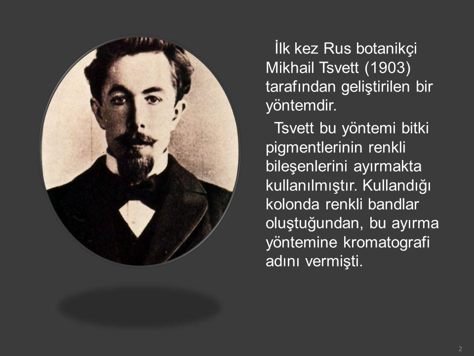 İlk kez Rus botanikçi Mikhail Tsvett (1903) tarafından geliştirilen bir yöntemdir. Tsvett bu yöntemi bitki pigmentlerinin renkli bileşenlerini ayırmak