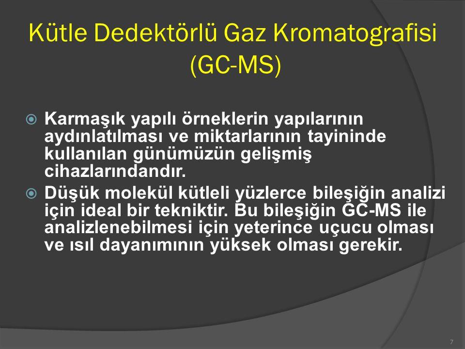 Kütle Dedektörlü Gaz Kromatografisi (GC-MS)  Karmaşık yapılı örneklerin yapılarının aydınlatılması ve miktarlarının tayininde kullanılan günümüzün ge