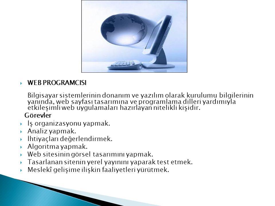  WEB PROGRAMCISI Bilgisayar sistemlerinin donanım ve yazılım olarak kurulumu bilgilerinin yanında, web sayfası tasarımına ve programlama dilleri yardımıyla etkileşimli web uygulamaları hazırlayan nitelikli kişidir.