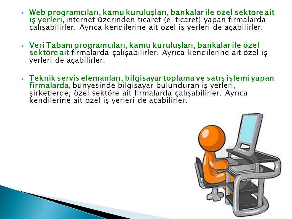  Web programcıları, kamu kuruluşları, bankalar ile özel sektöre ait iş yerleri, internet üzerinden ticaret (e-ticaret) yapan firmalarda çalışabilirler.