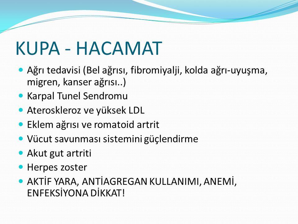 Ağrı tedavisi (Bel ağrısı, fibromiyalji, kolda ağrı-uyuşma, migren, kanser ağrısı..) Karpal Tunel Sendromu Ateroskleroz ve yüksek LDL Eklem ağrısı ve romatoid artrit Vücut savunması sistemini güçlendirme Akut gut artriti Herpes zoster AKTİF YARA, ANTİAGREGAN KULLANIMI, ANEMİ, ENFEKSİYONA DİKKAT!