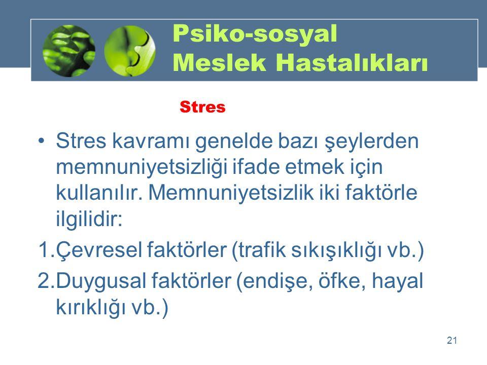 Stres kavramı genelde bazı şeylerden memnuniyetsizliği ifade etmek için kullanılır. Memnuniyetsizlik iki faktörle ilgilidir: 1.Çevresel faktörler (tra