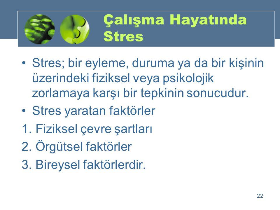 Çalışma Hayatında Stres Stres; bir eyleme, duruma ya da bir kişinin üzerindeki fiziksel veya psikolojik zorlamaya karşı bir tepkinin sonucudur. Stres