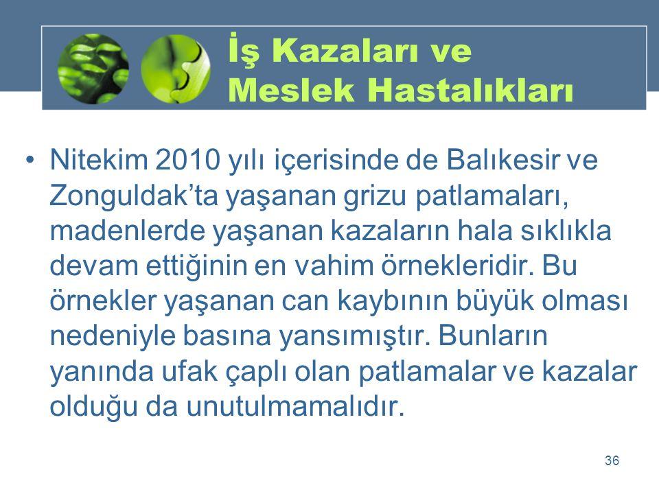 İş Kazaları ve Meslek Hastalıkları Nitekim 2010 yılı içerisinde de Balıkesir ve Zonguldak'ta yaşanan grizu patlamaları, madenlerde yaşanan kazaların h