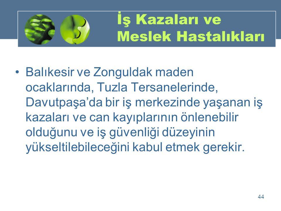 İş Kazaları ve Meslek Hastalıkları Balıkesir ve Zonguldak maden ocaklarında, Tuzla Tersanelerinde, Davutpaşa'da bir iş merkezinde yaşanan iş kazaları