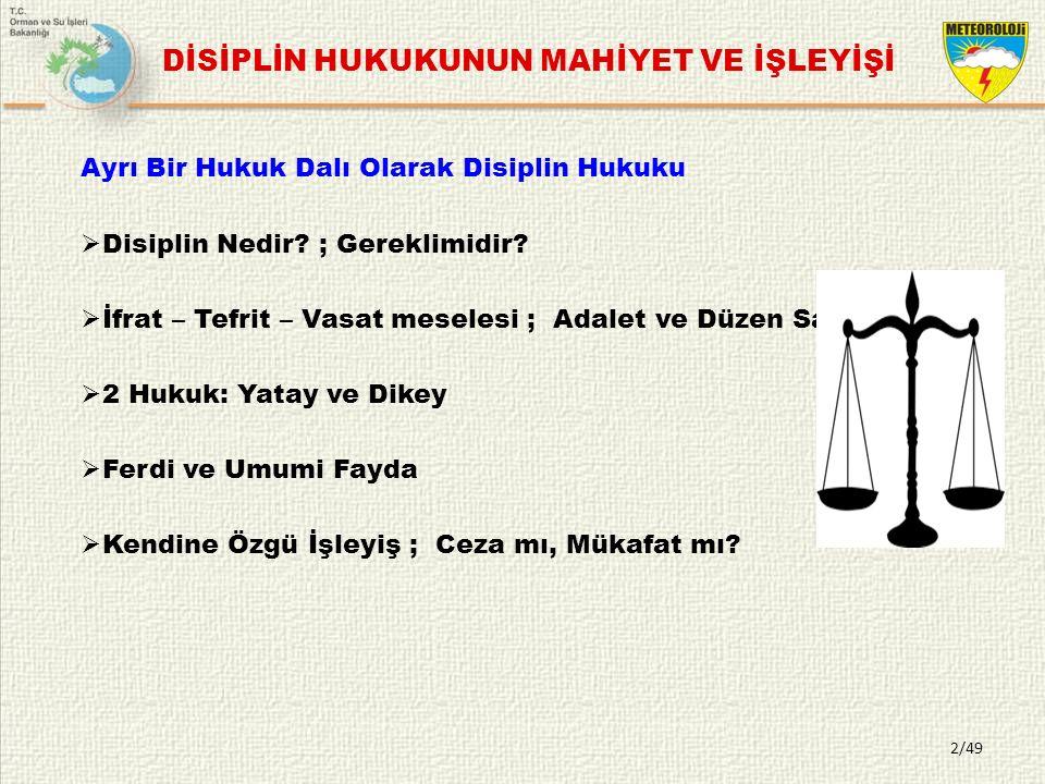 DİSİPLİN HUKUKUNUN MAHİYET VE İŞLEYİŞİ Ayrı Bir Hukuk Dalı Olarak Disiplin Hukuku  Disiplin Nedir.