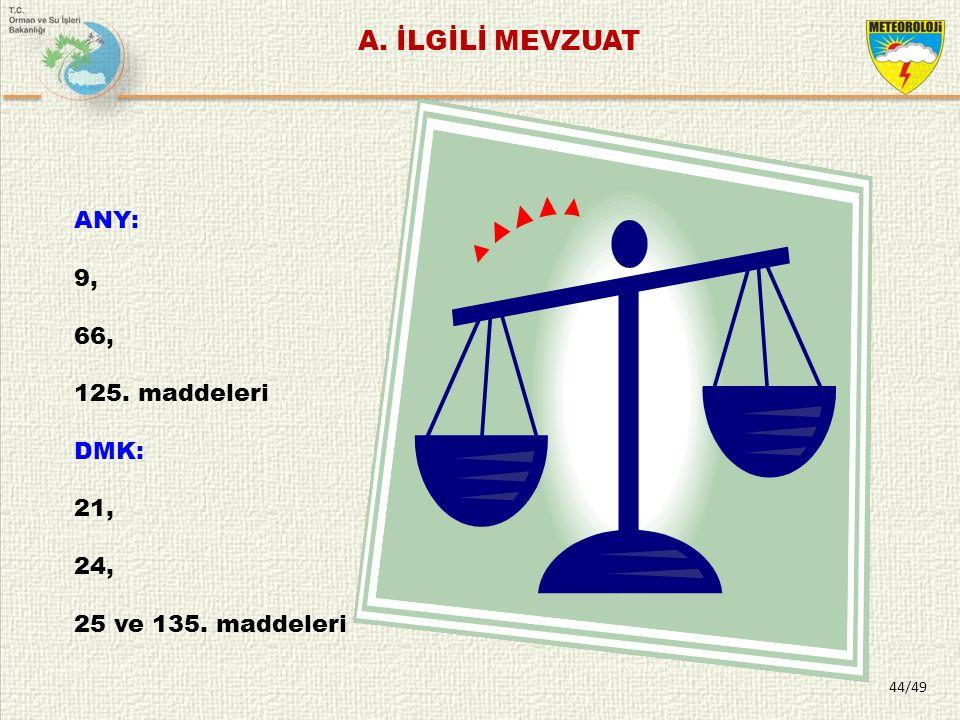 ANY: 9, 66, 125. maddeleri DMK: 21, 24, 25 ve 135. maddeleri A. İLGİLİ MEVZUAT 44/49