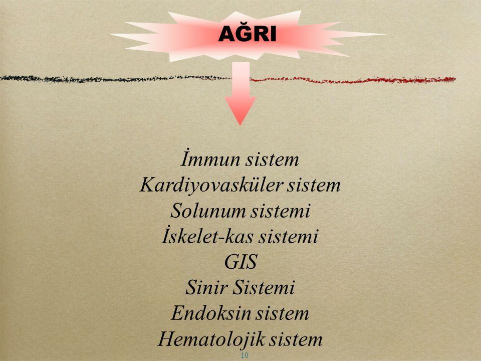 AĞRI 10 İmmun sistem Kardiyovasküler sistem Solunum sistemi İskelet-kas sistemi GIS Sinir Sistemi Endoksin sistem Hematolojik sistem