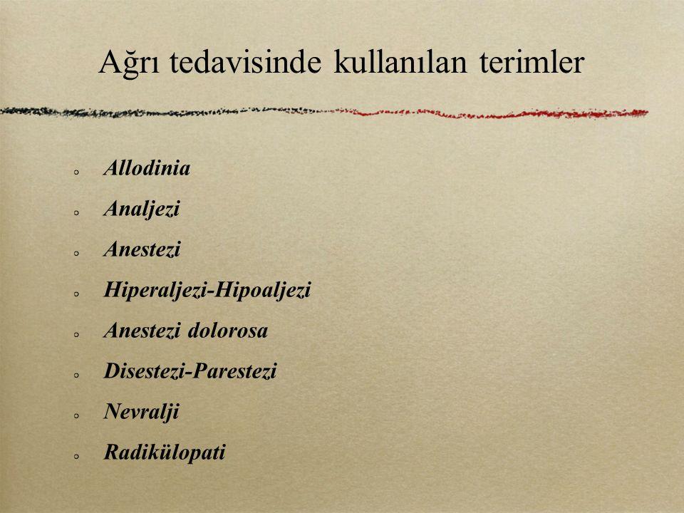 Ağrı tedavisinde kullanılan terimler Allodinia Analjezi Anestezi Hiperaljezi-Hipoaljezi Anestezi dolorosa Disestezi-Parestezi Nevralji Radikülopati