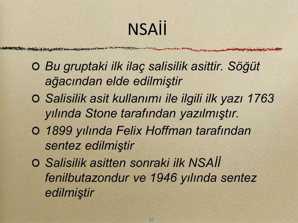NSAİİ Bu gruptaki ilk ilaç salisilik asittir. Söğüt ağacından elde edilmiştir Salisilik asit kullanımı ile ilgili ilk yazı 1763 yılında Stone tarafınd
