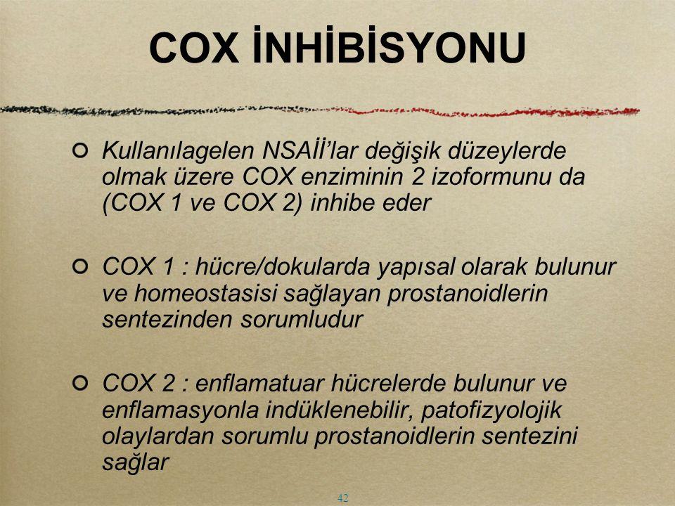 COX İNHİBİSYONU Kullanılagelen NSAİİ'lar değişik düzeylerde olmak üzere COX enziminin 2 izoformunu da (COX 1 ve COX 2) inhibe eder COX 1 : hücre/dokul