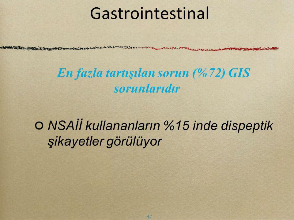 Gastrointestinal NSAİİ kullananların %15 inde dispeptik şikayetler görülüyor En fazla tartışılan sorun (%72) GIS sorunlarıdır 47